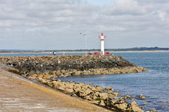 Lighthouse at Howth harbor in Ireland stock photo