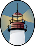 Lighthouse Icon. Closeup of a lighthouse tower in an oval Stock Photo