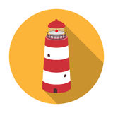 Lighthouse icon in flat style isolated on white background. Rest and travel symbol stock vector illustration. Royalty Free Stock Photos
