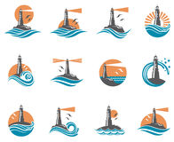 Lighthouse icon set royalty free illustration