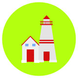 Lighthouse icon in trendy flat style isolated on grey background. Building symbol for your design, logo, UI. Vector illustration, stock illustration