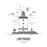 Lighthouse icon, vector illustration. In trendy linear style - navigational and travel concepts. Lighthouse icon, vector line illustration. Navigational and Royalty Free Stock Photography