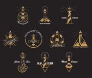 Set of lighthouse icons with rocks stock illustration
