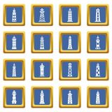 Lighthouse icons set blue square vector. Lighthouse icons set vector blue square isolated on white background Royalty Free Stock Photography
