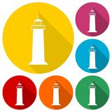 Lighthouse icons set with long shadow. Vector icon Stock Photography