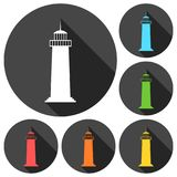 Lighthouse icons set with long shadow. Vector icon Royalty Free Stock Image