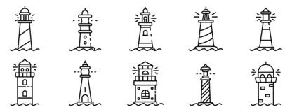 Lighthouse icons set, outline style vector illustration
