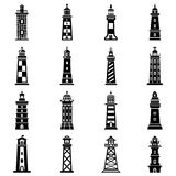 Lighthouse icons set, simple style. Lighthouse icons set. Simple illustration of 16 lighthouse vector icons for web Royalty Free Stock Images