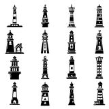 Lighthouse icons set, simple style. Lighthouse icons set. Simple illustration of 16 lighthouse vector icons for web Stock Photography
