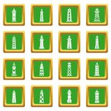 Lighthouse icons set green square vector. Lighthouse icons set vector green square isolated on white background Royalty Free Stock Photo