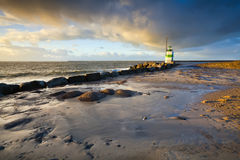 Lighthouse in Ijmuiden before sunset Stock Images