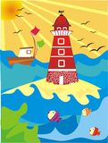 Lighthouse illustration Stock Photography