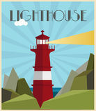 lighthouse  illustration art deco style Royalty Free Stock Images