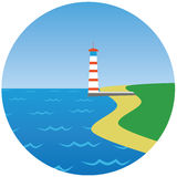 Lighthouse  illustration. With sea grass and beach Royalty Free Stock Photos