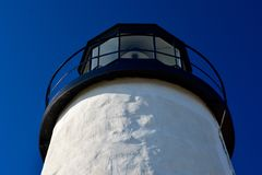 White Lighthouse Against a Deep Blue Cloudless Sky royalty free stock images