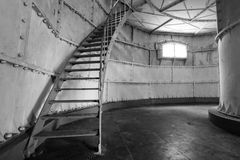 Lighthouse interior. Photo of a interior lighthouse in black and white Royalty Free Stock Photos