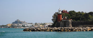 Lighthouse and Ischia panormic view Stock Photography
