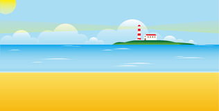 Lighthouse on a island Stock Images