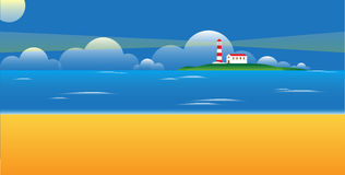 Lighthouse on a island Royalty Free Stock Photos