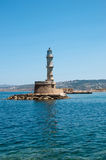 Lighthouse on an island. In Chania Greece island of Crete Royalty Free Stock Photos