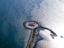 Lighthouse island. Aerial view of the Lighthouse island in Thermaikos Greece stock photos