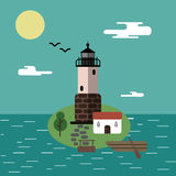 Lighthouse. On the island with a boat Royalty Free Stock Photo