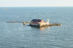 Lighthouse at an Island in front of Gothenburg coast stock photography