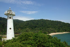 Lighthouse on the island of Koh Lanta, Thailand Royalty Free Stock Images
