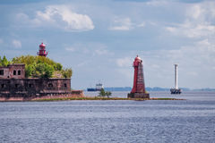 Lighthouse at the island Kronshlot, Russia. Old broken Nicholas lighthouse at the island Kronshlot, Russia royalty free stock photo