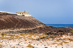 Lighthouse in Island of Lobos Stock Photo