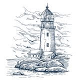 Beacon or harbor lighthouse sketch on island. Lighthouse on island with rocks sketch. Lighthouse keeper house or warehouse building . Beacon with hazard beam or royalty free illustration