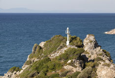 Lighthouse in island Samos in Greece Royalty Free Stock Photos