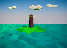 Lighthouse on island in sea royalty free illustration