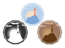 Lighthouse on the island surrounded by vegetation and mountains. Set of icons, logos. Landscape, background. royalty free illustration