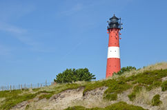 Lighthouse on the island Sylt in Hoernum. Leuchtturm in Hörnum auf der Insel Sylt im Sommer Royalty Free Stock Image