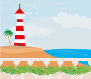 Lighthouse on the island Royalty Free Stock Photo