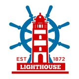 Lighthouse isolated icon beacon or search light and steering wheel. Lighthouse isolated icon beacon or searchlight and steering wheel vector nautical royalty free illustration