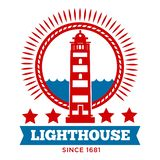 Lighthouse isolated icon marine building beacon on coast. Marine building lighthouse isolated icon beacon on coast vector striped tower searchlight on beach sea vector illustration