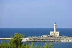 Lighthouse in Italy. Vieste, Italy: the lighthouse on the islet of Santa Eufemia Stock Image
