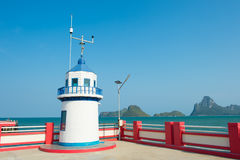 Lighthouse jutting out into the sea. Thailand Stock Images