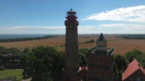 Lighthouse at Kap Arkona, Island of Ruegen, Germany Schinkelturm. Lighthouse at Kap Arkona, Island of Ruegen, Germany stock video