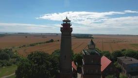 Lighthouse at Kap Arkona, Island of Ruegen, Germany Schinkelturm. Lighthouse at Kap Arkona, Island of Ruegen, Germany stock footage