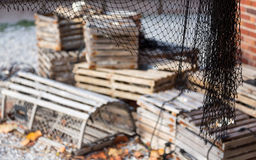 Lighthouse keeper house Bill Baggs. Lobster posts at lighthouse keeper home at Cape Florida Bill Baggs State Park royalty free stock photos