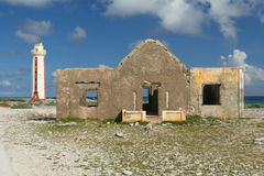 Lighthouse and Keeper's House - Bonaire Royalty Free Stock Photo