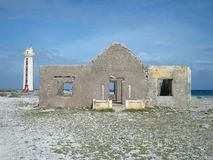 Lighthouse and keeper's house ruins Stock Image