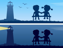 Lighthouse and Kids Silhouettes. Two banners with the silhouettes of two kids in love sitting on a bench by a lighthouse. Eps file available Royalty Free Stock Images