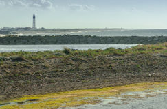 Lighthouse and the Kizilirmak river delta Stock Images