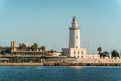 Lighthouse La Farola de Malaga in Malaga, Spain stock image