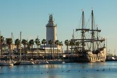 Lighthouse `La Farola de Malaga` in Malaga, Spain royalty free stock photos