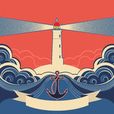 Lighthouse label with anchor and blue sea waves Royalty Free Stock Photo